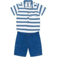 Conjunto Infantil Trick Nick Masculino - Masculino-Branco+Azul