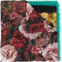 Dolce & Gabbana Echarpe Leve Com Estampa De Rosa - Verde