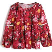 Blusa Colorittá Infantil Flores Vermelho/Rosa
