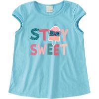 "Blusa ""Stay Sweet"" - Azul & Rosa - Primeiro Passosmalwee"