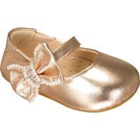 Sapato Boneca Com Laã§O & Pã©Rolas - Dourado- Luluzinluluzinha