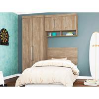 Dormitório De Solteiro 5 Portas Modena Nogal Touch - Lc Móveis