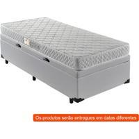 Cama Box Premium Baú Com Colchão Solteiro Macau D28 Branco