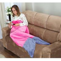 Cobertor Cauda De Sereia Adulto Saco De Dormir 01 Peça (Toque Aveludado) - Rosa