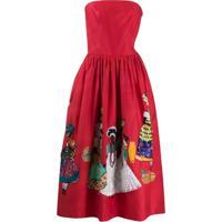 Stella Jean Vestido Tomara Que Caia Com Aplicações - Vermelho