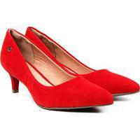 Scarpin Via Uno Salto Médio Bico Fino - Feminino-Vermelho