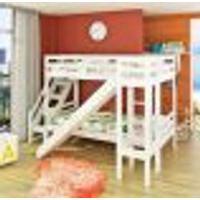 Beliche Teen Play C/ Escorregador Transversal E Escada Lateral - Madeira Maciça - Branco