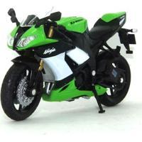 Mini Moto Cycle - Escala 1:18 - Kawazaki Ninja - Verde E Preta - Califórnia Toys