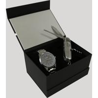 Kit De Relógio Analógico Orient Masculino + Canivete - Mbss1294 Kc26G1Sx Prateado - Único