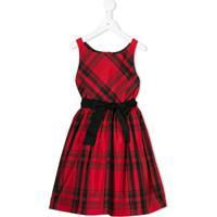 Ralph Lauren Kids Vestido De Tafetá Xadrez - Vermelho
