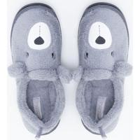 Pantufa Infantil Fleece Com Bordado - Tam 19 A 36