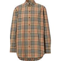 Burberry Camisa Marrom De Algodão Com Xadrez Vintage