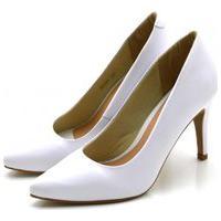 Sapato Feminino Scarpin Salto Alto Fino Em Napa Branca