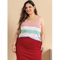 Blusa Plus Size Rosa Com Alças Reguláveis