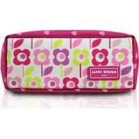 Estojo Infantil Jacki Design Flor Microfibra Feminina - Feminino-Pink+Verde