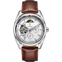 Relógio Tevise 795A Masculino Automático Pulseira De Couro - Branco