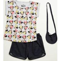 Conjunto Infantil Estampa Minnie Brinde Bolsa Disney