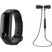 Kit Relógio Bracelete Pedômetro E Fone De Ouvido Bluetooth Sports