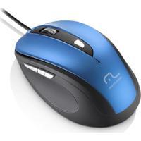 Mouse Multilaser Com Fio 1600Dpi Usb 6 Botões Preto E Azul