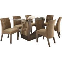 Conjunto De Mesa Fortuna 1.70M Com 06 Cadeiras Chocolate Tecido Veludo Pena Caramelo Lj Móveis
