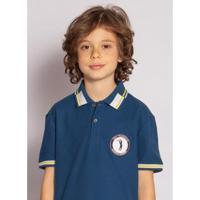 Camisa Polo Aleatory Kids Hurricane Masculina - Masculino-Azul