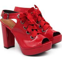 Sandalia Open Boot Vermelha Com Cadarco