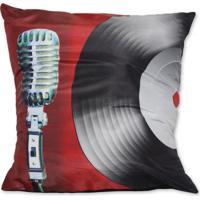 Almofada Microfone Vermelho 42X42Cm Uniart
