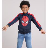 Jaqueta Infantil Homem Aranha Gola Alta Com Bolsos Manga Longa Azul Marinho