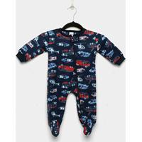 Macacão Infantil Candy Kids Longo Pijama Soft Zíper Carros - Masculino-Azul Escuro