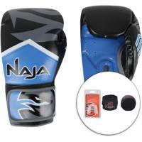 Kit De Boxe Naja: Bandagem + Protetor Bucal + Luvas De Boxe New Extreme 3X - 14 Oz - Adulto - Azul/Preto