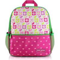 Mochila Infantil Escolar Jacki Design Flor Microfibra Feminina - Feminino-Pink+Verde