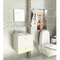 Kit Para Banheiro 3 Peças Sintético Espelho Biscuit Tomdo Bege