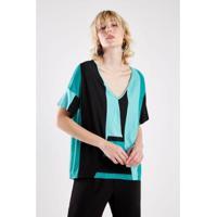 Blusa Malha Listra Verde Sacada - Feminino-Verde