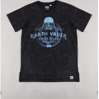 Camiseta Juvenil Darth Vader Star Wars Estampada Manga Curta Preta