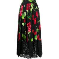 Dolce & Gabbana Saia Com Estampa De Rosa E Renda - Preto