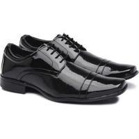 Sapato Social Pedway Verniz Masculino Conforto Dia Dia - Masculino-Preto