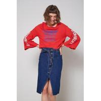 Saia Jeans Oh, Boy! Botões Feminina - Feminino-Azul
