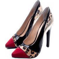 Sapato Scarpin Torricella Salto Fino Preto Vermelho