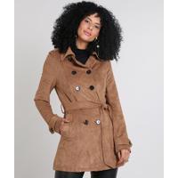 Casaco Trench Coat Feminino Com Bolsos & Cinto Caramelo