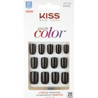 Kiss New York Unhas Postiças Salon Color Curto Cor Chic - Feminino-Incolor