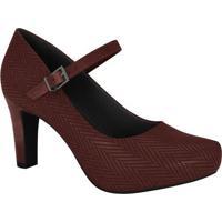 Sapato Tradicional Com Fivela - Vinho- Salto: 7Cmramarim