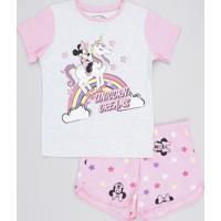 Pijama Infantil Minnie Manga Curta Rosa Claro