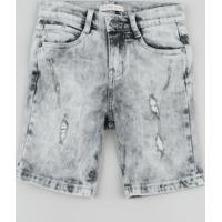 Bermuda Jeans Infantil Com Puídos Cinza