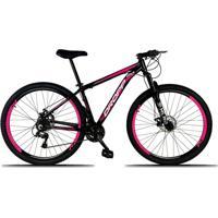 Bicicleta Dropp Aro 29 Freio A Disco Mecânico Quadro 17 Alumínio 21 Marchas Preto Rosa