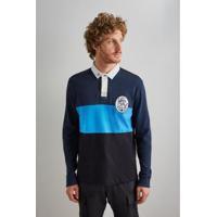 Camisa Polo Reserva Rugby Recorte Ml Masculina - Masculino-Azul Escuro
