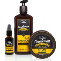 Kit Shampoo 2 Em 1 + Óleo Para Barba + Creme De Barbear Efac Gentleman Edition