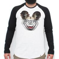 Glitchey - Camiseta Raglan Manga Longa Masculina