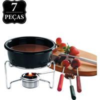 Conjunto Fondue De Chocolate Brinox 7 Peças Preta.