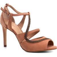 Sandália Couro Shoestock Salto Fino Cristal Feminina - Feminino-Nude