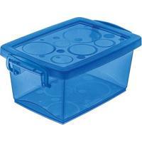 Caixa Organizadora Com Trava 650Ml Azul Ordene
